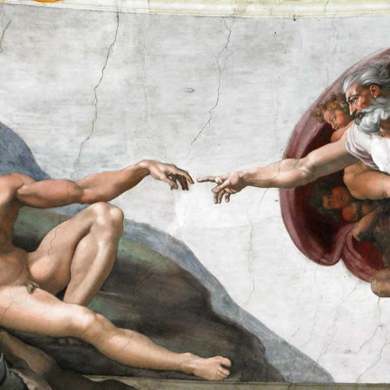 Dettaglio della Creazione di Adamo affrescata da Michelangelo nella Cappella Sistina