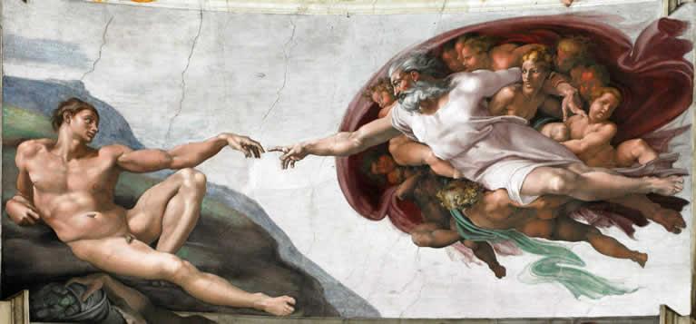 La Creazione di Adamo affrescata da Michelangelo nella Cappella Sistina