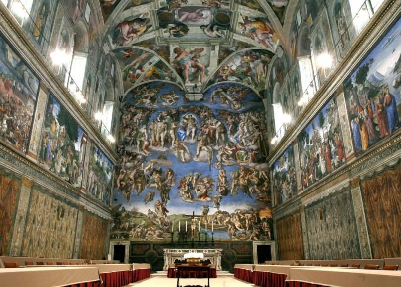 La volta e il Giudizio Universale affrescati da Michelangelo Buonarroti